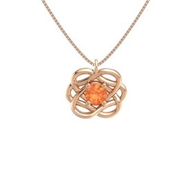 Round Fire Opal 14K Rose Gold Necklace