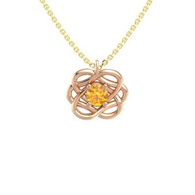 Round Citrine 14K Rose Gold Pendant