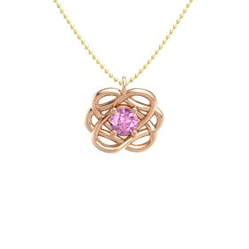 Round Pink Sapphire 14K Rose Gold Necklace