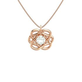 Round Green Amethyst 14K Rose Gold Necklace