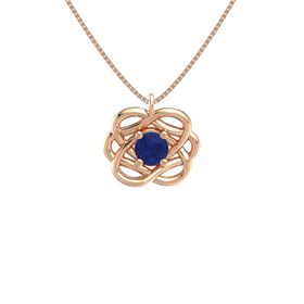 Round Sapphire 14K Rose Gold Necklace