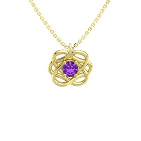 Round Amethyst 14K Yellow Gold Necklace