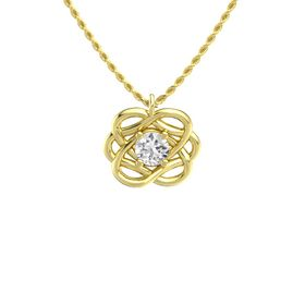 Round White Sapphire 14K Yellow Gold Necklace