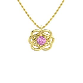 Round Pink Sapphire 14K Yellow Gold Necklace