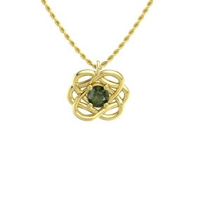 Round Green Tourmaline 14K Yellow Gold Pendant