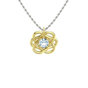 Round Aquamarine 14K Yellow Gold Pendant