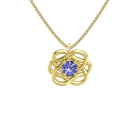 Round Tanzanite 14K Yellow Gold Necklace