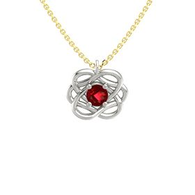 Round Ruby 18K White Gold Pendant