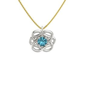 Round London Blue Topaz Palladium Pendant