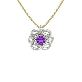 Round Amethyst Palladium Necklace