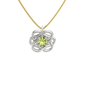 Round Peridot Palladium Necklace