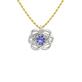 Round Tanzanite Palladium Necklace