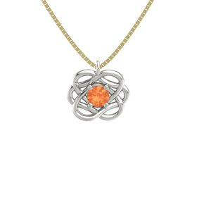 Round Fire Opal Platinum Necklace