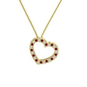 14K Yellow Gold Necklace with Ruby & Diamond