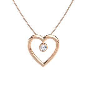 Round Diamond 14K Rose Gold Necklace
