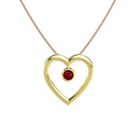 Round Ruby 14K Yellow Gold Necklace