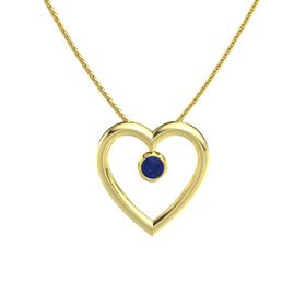 Round Sapphire 14K Yellow Gold Necklace