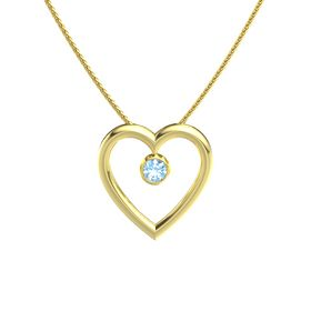 Round Blue Topaz 14K Yellow Gold Necklace