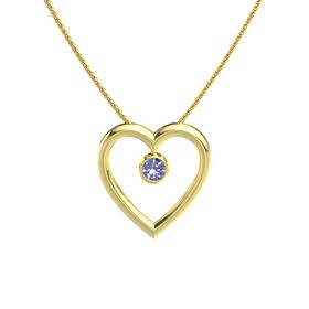 Round Tanzanite 14K Yellow Gold Pendant