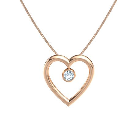 round aquamarine 14k rose gold necklace inside my heart pendant