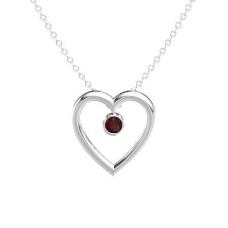 Round red garnet sterling silver necklace inside my heart inside my heart pendant mozeypictures Images