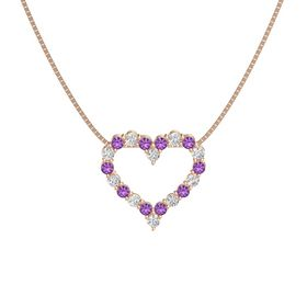 14K Rose Gold Pendant with Amethyst and White Sapphire