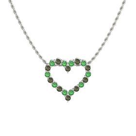 14K White Gold Pendant with Emerald and Green Tourmaline