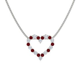 14K White Gold Pendant with Ruby and Diamond