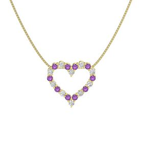 14K Yellow Gold Pendant with Amethyst and White Sapphire