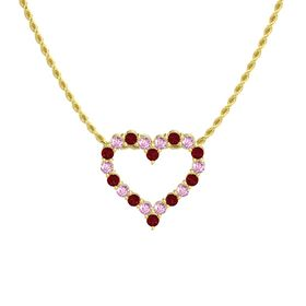 14K Yellow Gold Pendant with Pink Sapphire and Ruby