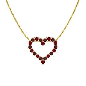 18K Rose Gold Pendant with Red Garnet and Ruby