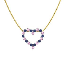 18K White Gold Pendant with Blue Sapphire and Pink Sapphire