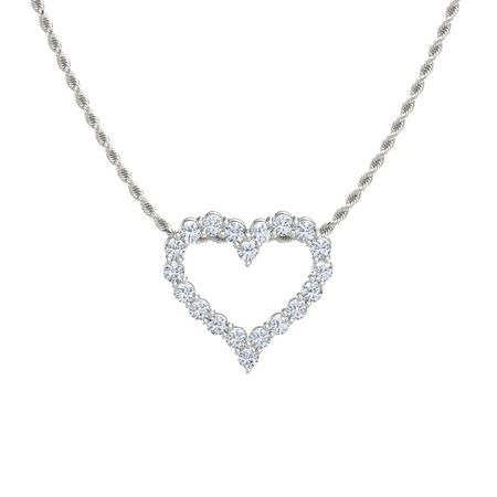 14k white gold pendant with diamond shining heart pendant gemvara shining heart pendant mozeypictures