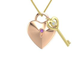 18K Rose Gold Pendant with Amethyst and Diamond
