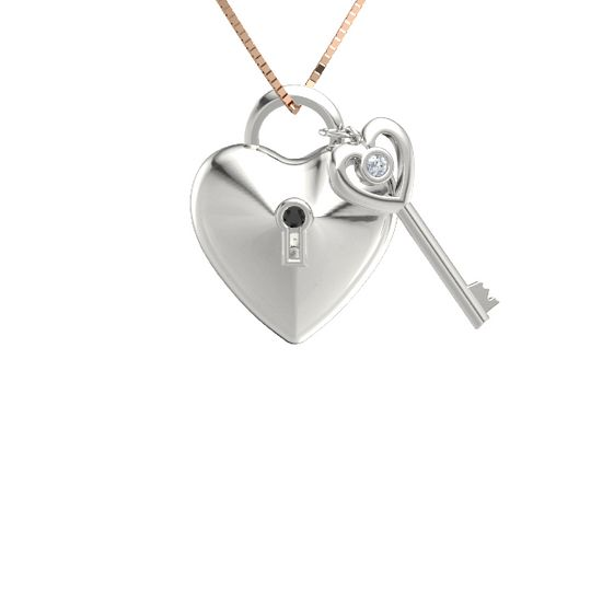 Platinum black diamond key jewelry gemvara cadena damour necklace mozeypictures Images
