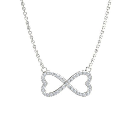 infinity necklace white gold. brilliant infinity heart pendant necklace white gold