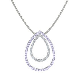 14K White Gold Pendant with Tanzanite and Diamond
