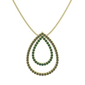 14K Yellow Gold Necklace with Green Tourmaline & Alexandrite