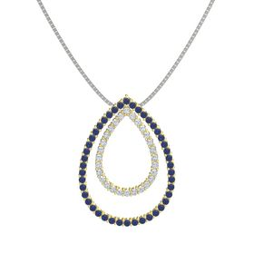 14K Yellow Gold Necklace with Sapphire & Diamond