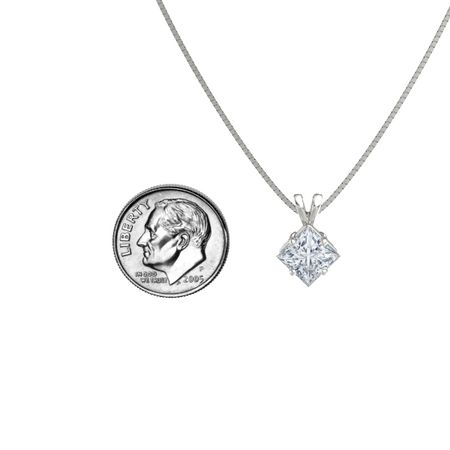 Princess-Cut Solitaire Pendant (7mm gem)