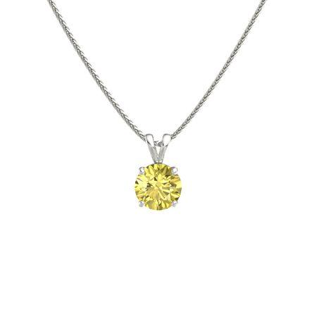 Round yellow sapphire 14k white gold pendant round cut solitaire round cut solitaire pendant 8mm gem aloadofball Image collections