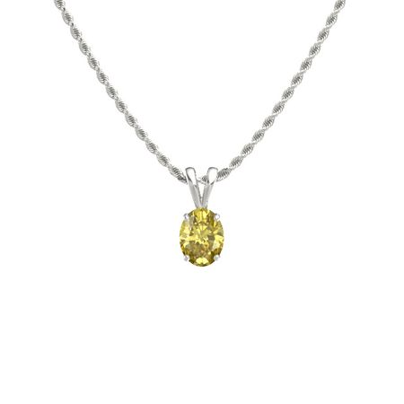 Oval yellow sapphire 14k white gold necklace oval cut solitaire oval cut solitaire pendant 8mm gem aloadofball Image collections