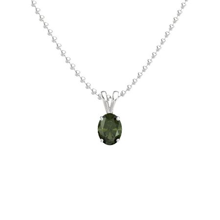 Oval-Cut Solitaire Pendant (8mm gem)