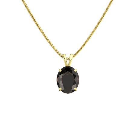Oval smoky quartz 14k yellow gold necklace oval cut solitaire oval cut solitaire pendant 11mm gem mozeypictures Gallery