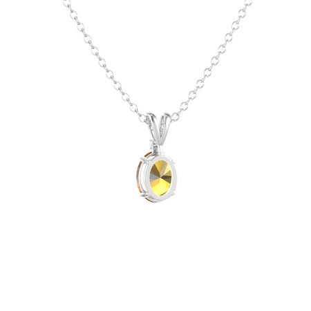 Oval-Cut Solitaire Pendant with Accent (9mm gem)
