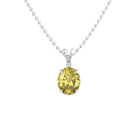 Oval yellow sapphire sterling silver necklace with diamond oval oval cut solitaire pendant with accent 11mm gem aloadofball Images