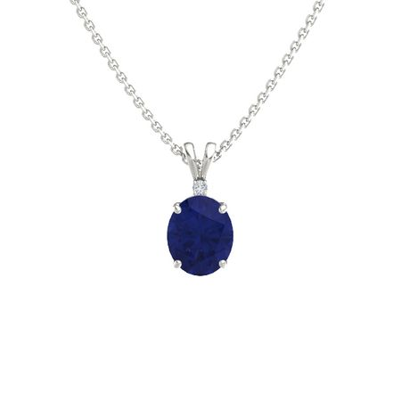 Oval blue sapphire 14k white gold pendant with diamond oval cut oval cut solitaire pendant with accent 11mm gem aloadofball Image collections