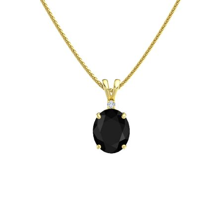 Oval black onyx 14k yellow gold pendant with diamond oval cut oval cut solitaire pendant with accent 11mm gem aloadofball Choice Image