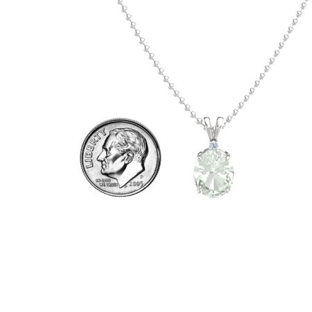 Oval-Cut Solitaire Pendant with Accent (11mm gem)