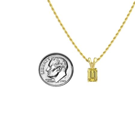 Emerald-Cut Solitaire Pendant (7mm gem)